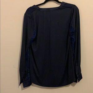Tops - Longsleeve blue velvet and lace hale Bob blouse